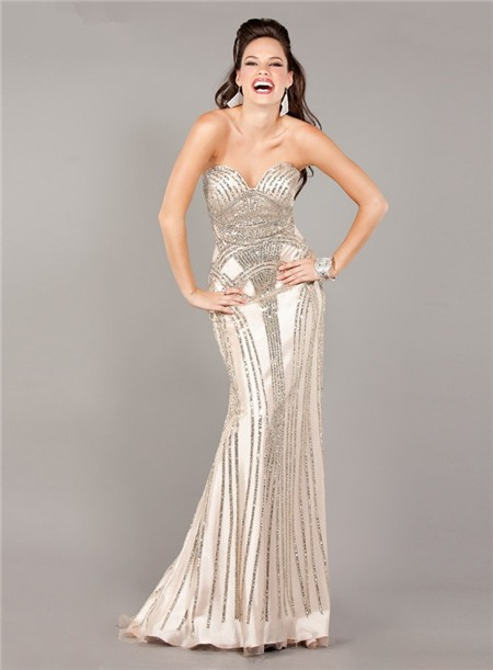 Stunning Mermaid Strapless Beige Satin Beaded Sparkly
