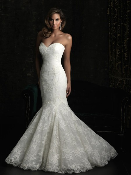 Stunning Mermaid Sweetheart Fit And Flare Lace Wedding Dress With Train
