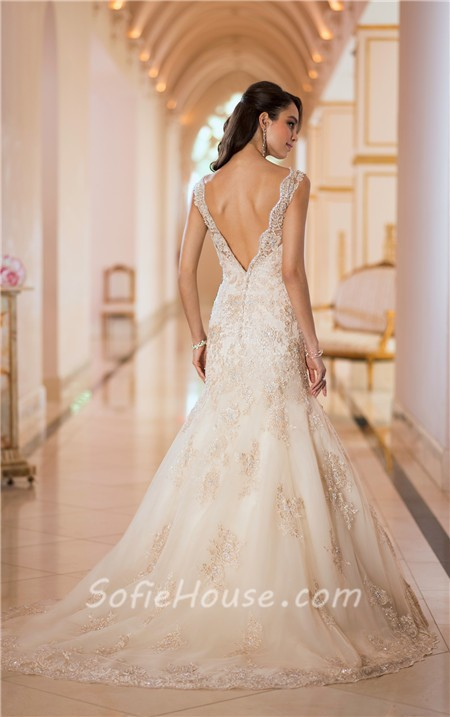 Stunning mermaid v neck low back gold lace beaded sparkly for Beaded low back wedding dress