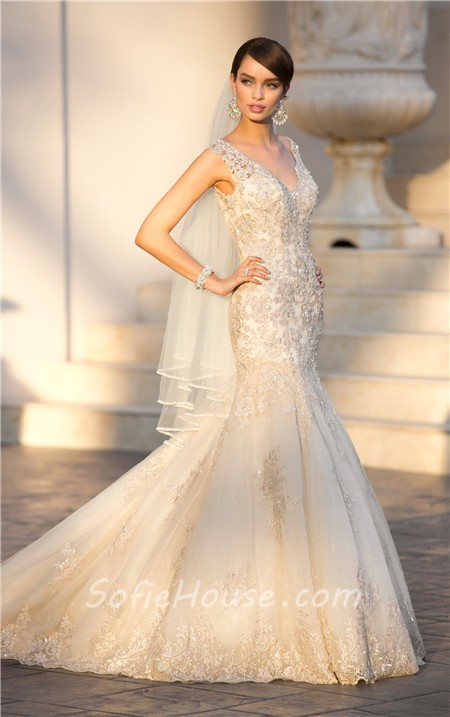 Gold Lace Beaded Sparkly Wedding Dress Sale