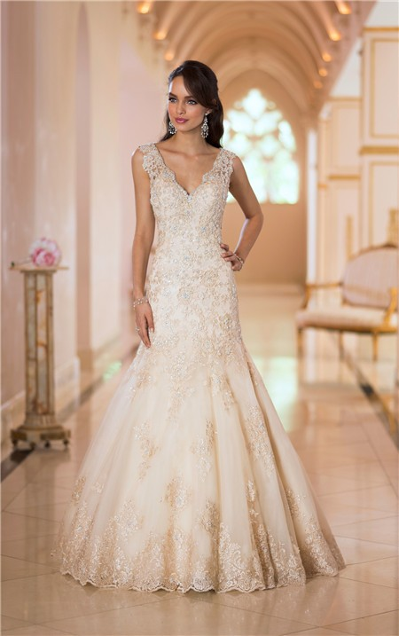 Mermaid V Neck Low Back Gold Lace Beaded Sparkly Wedding Dress