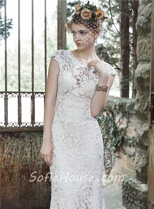 Stunning sheath scoop neckline cap sleeve vintage lace for Lace sheath wedding dress vintage