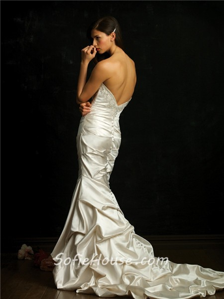 Stunning slim fitted mermaid strapless ivory satin wedding for Fitted strapless wedding dress