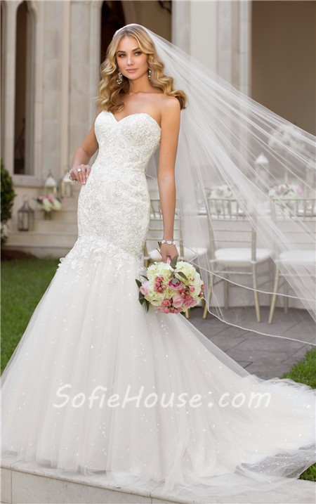 Stunning trumpet mermaid sweetheart lace tulle sparkly for Sweetheart lace trumpet wedding dress