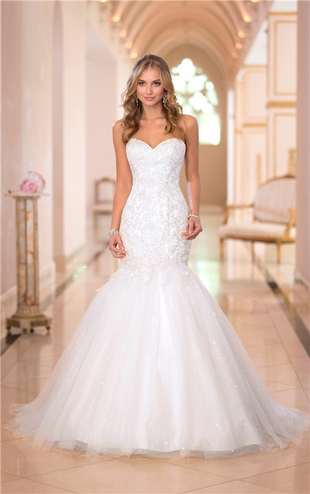 Trumpet Mermaid Sweetheart Lace Tulle Sparkly Wedding Dress
