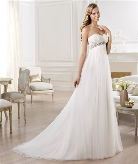 Pregnant Wedding Dresses: Sweetheart Empire Waist Feather Tulle Maternity Wedding