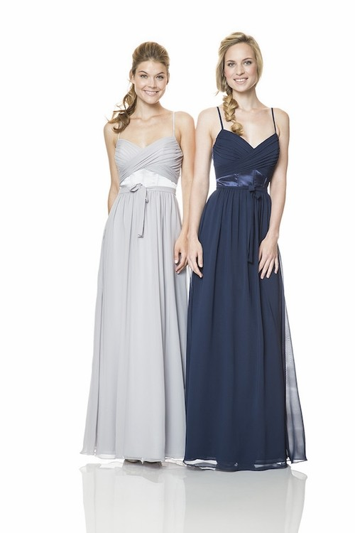46532fb3f08 Sweetheart Spaghetti Strap Long Navy Blue Chiffon Occasion Bridesmaid Dress  With Sash
