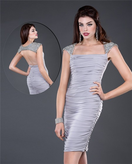 c9c1c363d97 Tight Cap Sleeve Short Grey Ruched Jersey Beaded Evening Cocktail Party  Dress