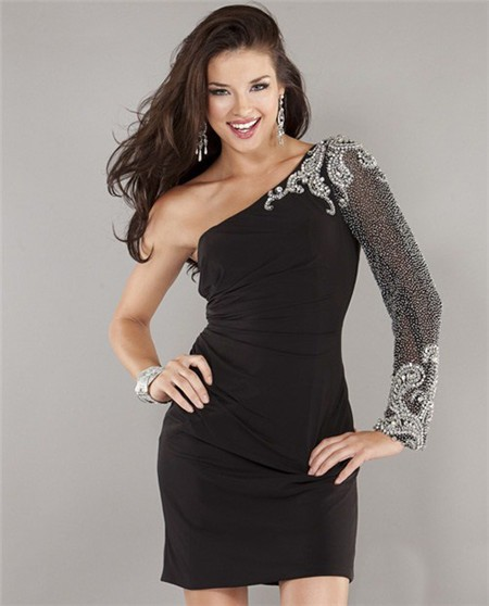 One Shoulder Sleeve Short Mini Black Beaded Evening Cocktail Party ...
