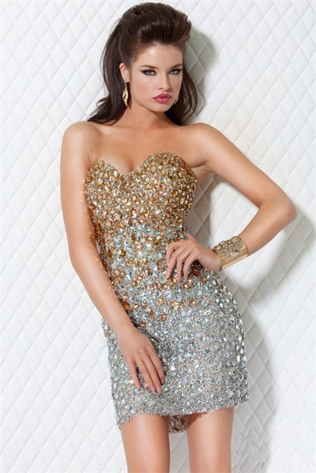 Sweetheart Short Mini Gold Silver Beaded Club Cocktail Party Dress
