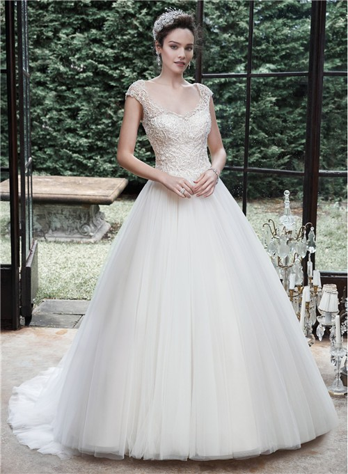 Ball Gown Cap Sleeve Backless Tulle Lace Beaded Wedding Dress