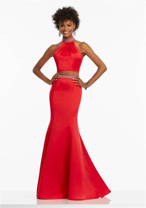 124d468b14 Trumpet Halter Open Back Two Piece Red Satin Beaded Prom Dress