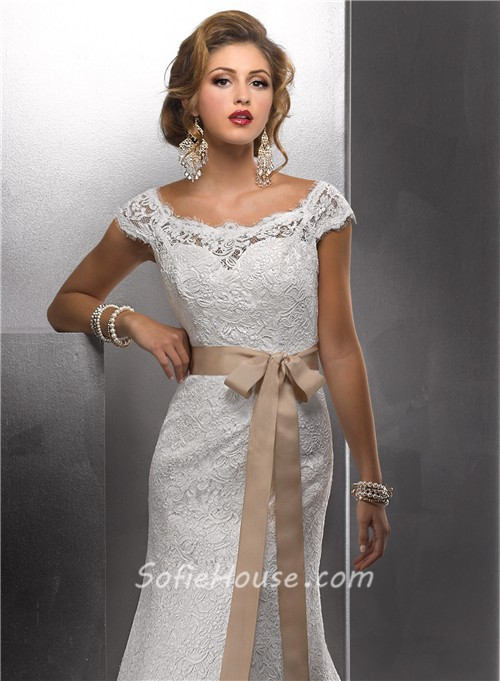 Trumpet Mermaid Bateau Cap Sleeves Vintage Lace Wedding Dress With