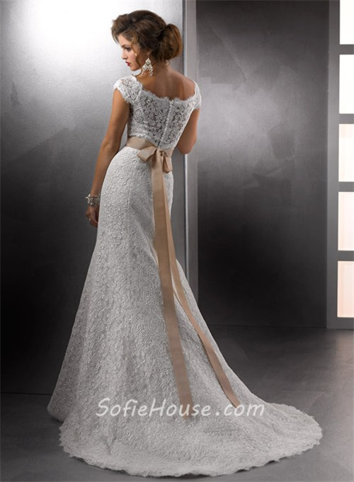 Cap sleeves vintage lace wedding dress