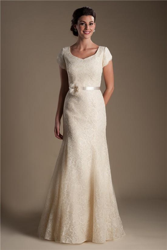 trumpet mermaid cap sleeve champagne lace modest wedding