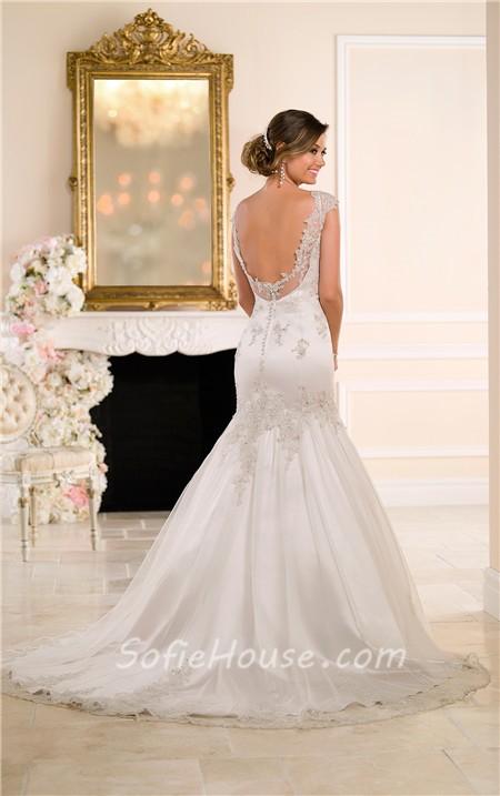 Trumpet mermaid cap sleeve open back lace beaded wedding dress for Cap sleeve open back wedding dress