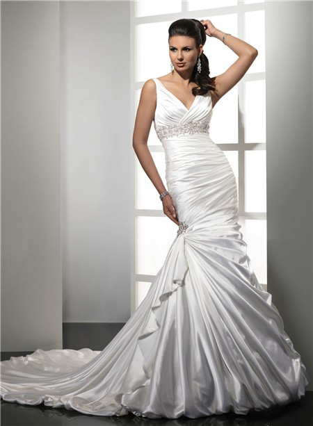 Trumpet Mermaid Empire V Neck Satin Wedding Dress With Straps Beading Pleat