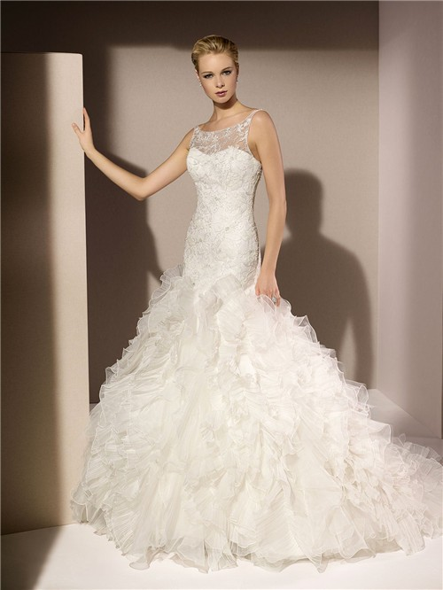 Wedding Dresses Mermaid Ruffles : Mermaid illusion boat neckline lace beaded organza ruffle wedding
