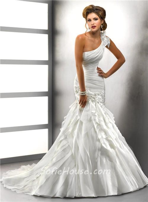 Trumpet mermaid one shoulder tiered organza wedding dress for Organza trumpet wedding dress
