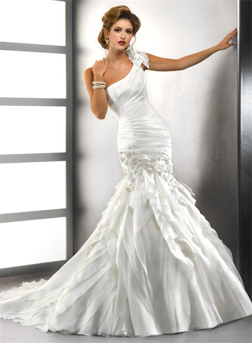 Trumpet Mermaid One Shoulder Tiered Organza Wedding Dress With Crystals Appl