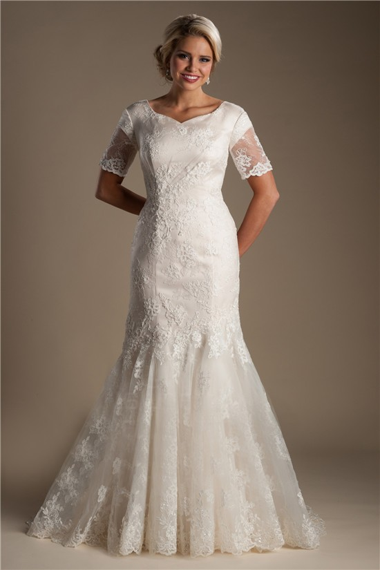 Trumpet mermaid short sleeve champagne lace modest wedding for Short champagne wedding dress