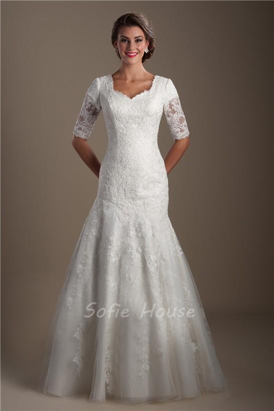 Trumpet Mermaid Short Sleeve Lace Modest Wedding Dress ...
