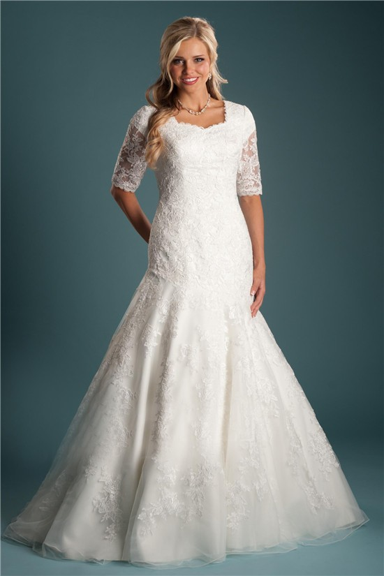 Trumpet Mermaid Short Sleeve Lace Modest Wedding Dress