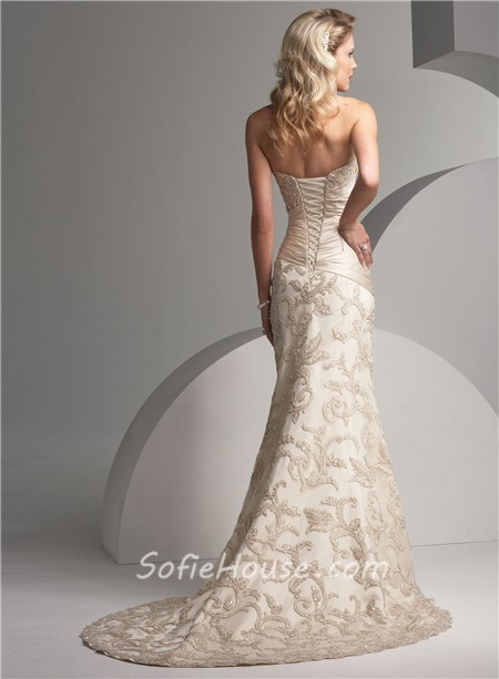 Trumpet Mermaid Strapless Court Train Ivory Vintage Lace Wedding Dress With Beaded Bow