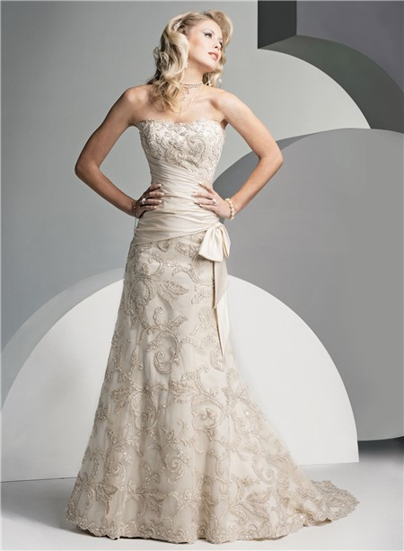 Trumpet/ Mermaid Strapless Court Train Ivory Vintage Lace Wedding ...