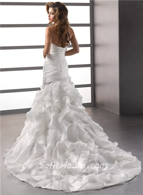 Trumpet/ Mermaid Sweetheart Court Train Oganza Ruffles Wedding Dress ...