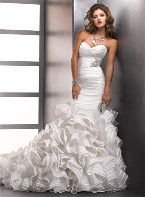 Mermaid Sweetheart Designer Wedding Dress With Organza Ruffles ...