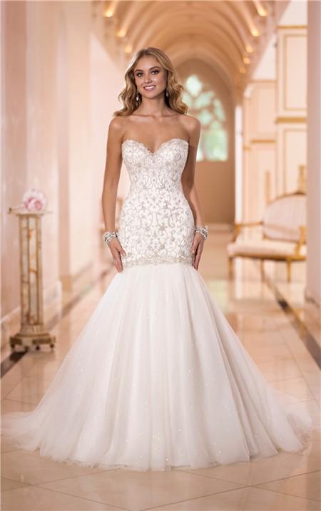 1c8384e13b8f Trumpet Mermaid Sweetheart Embroidery Satin Tulle Wedding Dress Corset Back