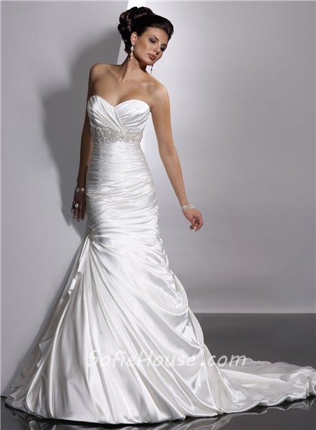 Trumpet Mermaid Sweetheart Empire Court Train Satin Wedding Dress With Beaded Crystals Pleat