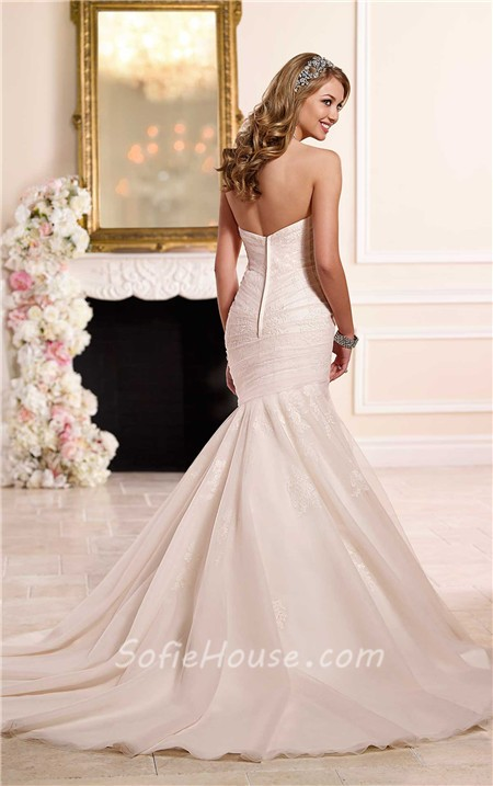 Trumpet Mermaid Sweetheart Ivory Satin Blush Pink Tulle Ruched ...