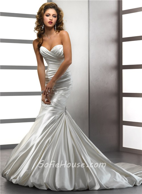 Trumpet mermaid sweetheart ivory satin wedding dress with for Satin sweetheart mermaid wedding dress