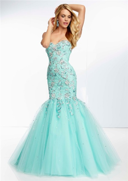Mermaid Sweetheart Long Aqua Tulle Lace Beaded Prom Dress Corset Back