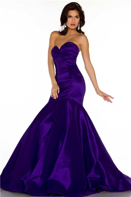 2cc3fcb0823f Trumpet Mermaid Sweetheart Long Regency Purple Satin Special Occasion  Evening Dress