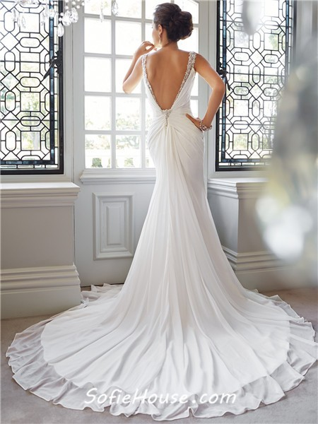 Trumpet mermaid sweetheart neckline low back chiffon for Beaded low back wedding dress