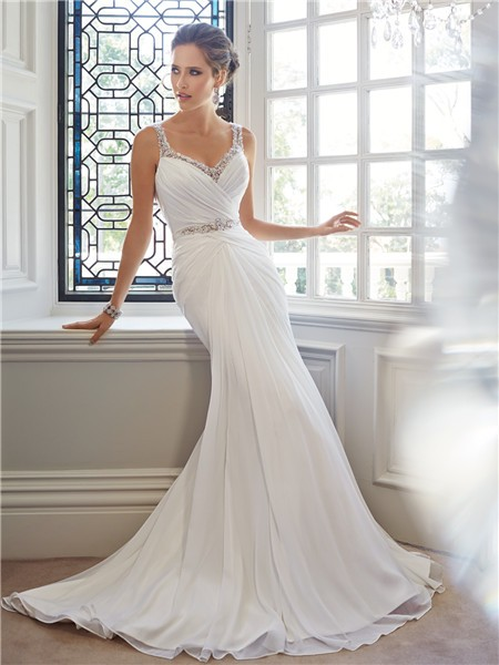 Mermaid Sweetheart Neckline Low Back Chiffon Crystal Wedding Dress ...
