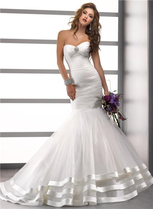 Trumpet Mermaid Sweetheart Pleat Tulle Wedding Dress With
