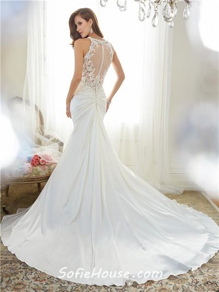 Trumpet mermaid sweetheart sheer illusion back draped for T back wedding dress