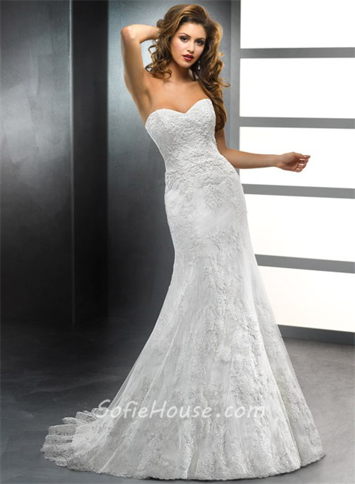 Trumpet/ Mermaid Sweetheart Vintage Lace Wedding Dress With ...