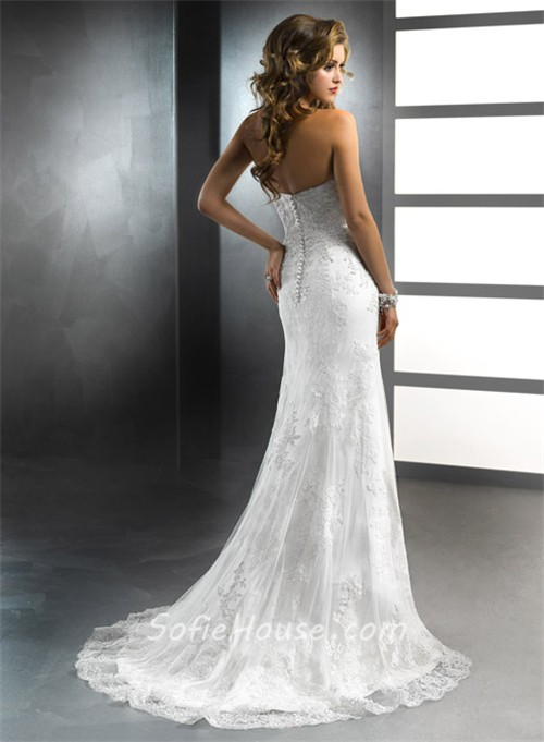 Trumpet mermaid sweetheart vintage lace wedding dress for Detachable train wedding dress