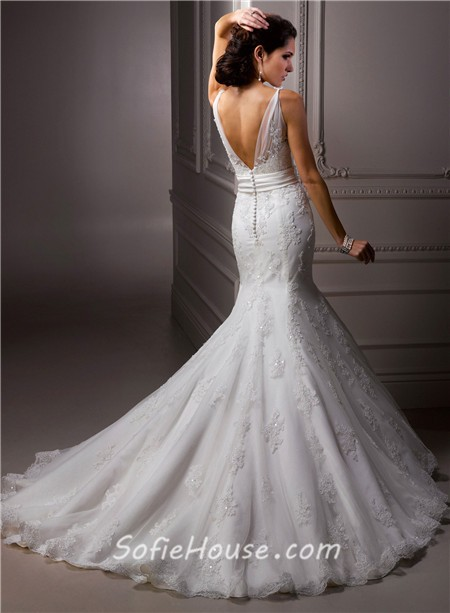 Trumpet Mermaid V Neck Lace Beaded Wedding Dress With Flowers Sash Buttons