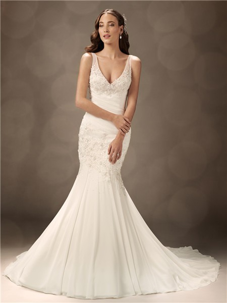 Mermaid V neck court train organza wedding dress with straps