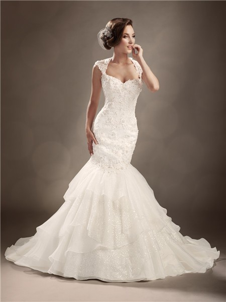 trumpet mermaid cap sleeve backless sexy wedding dress