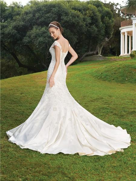 Trumpet mermaid cap sleeve court train satin wedding dress for Trumpet mermaid wedding dress with sleeves
