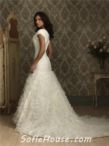 Trumpet mermaid cap sleeve organza wedding dress with ruffles for Trumpet mermaid wedding dress with sleeves