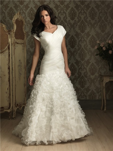 Trumpet Wedding Dresses With Ruffles : Home ? trumpet mermaid cap sleeve organza wedding dress with ruffles