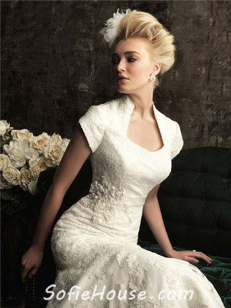 Wedding Dress With Collar Trumpet Mermaid Court Train Short Sleeves Wedding Dress
